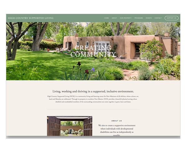 High Country Supported Living website